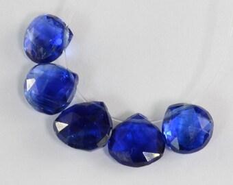 Gem Kyanite Faceted Heart Briolette Beads (5)