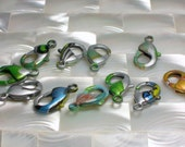 Lobster Clasp, Powder coat Clasp, Findings, Silver Metallic Multi Color Print 19mm, Medium/Large, Jewelry Supplies, Jewellery Supplies
