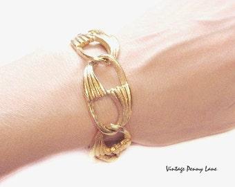 Vintage Gold Bracelet, Signed CORO Pegasus