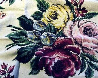Vintage 30s 40s BARKCLOTH Fat Quarter Lot, FIVE Different Pieces,Nubby,Pink Roses,Hibiscus, Flowers