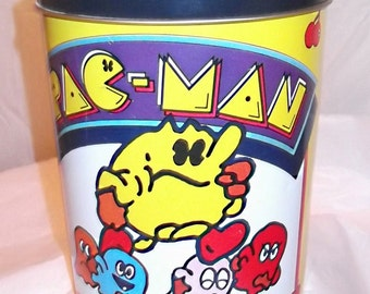 Vintage 80s PAC MAN Tin Canister, 1980 Bally, Geek, Nerd, Video Games