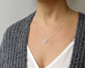 Frozen Snowflake Necklace Minimalist Jewelry  Sterling Silver CZ Delicate Handmade Jewelry Winter Jewelry
