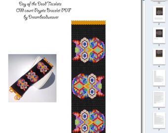 EBW Day of the Dead Tecolote Sugar Skull Owl PDF Bracelet Pattern
