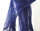 Ultimate Luxury Silk Organza Wrap Natural Dyed in Indigo