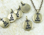 Small Buddha Pendant 12mm Antique Brass Charm TierraCast SITTING BUDDHA Mini Pendant Bronze Charm Yoga Charms for Meditation Jewelry (P1226)