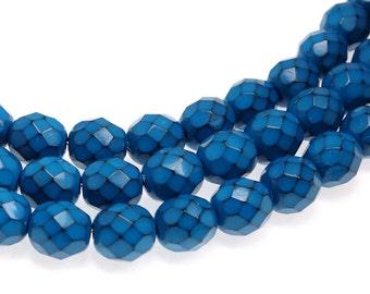 8mm TURQUOISE BLUE Snake Beads - 19 Pcs - Fire Polish Czech Glass Beads - Ocean Blue Beads - Medium to Dark Blue