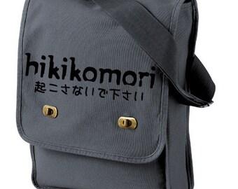 Hikikomori Japanese Messenger Field Bag - anime bag japanese kanji manga tote fandom harajuku