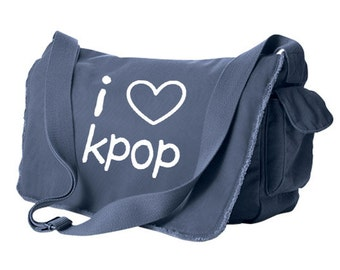 Kpop Messenger Bag - korean KPOP hangul school bag k-pop kawaii laptop bag cute tote crossbody I Love Kpop