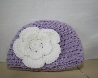 Crochet baby girl hat with flower-lavender beanie with white flower