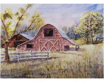 Whiteville Barns 16X12 Inch, original watercolor painting, rustic, barn, country, art, artwork, home decor