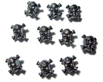 Acrylic skull and crossbone beads in gunmetal color 10pcs