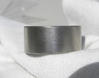 Titanium Ring, WIDE, Flat profile, Burnished Finish Band