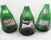 Vintage MT DEW soda pop bottle - Mountain Dew bottle - spoonrest or dish - ashtray - Hillbilly - upcycled bottle - Yahoo, Mt. Dew