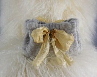 Heather Grey Felted Clutch with Silk Bow