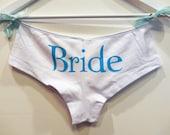 BRIDE-Something Blue-Custom Hand screen print Cotton Satin lined Bootie Shorts-bridal lingerie-Honeymoon lingerie-CRBoggs Original Design