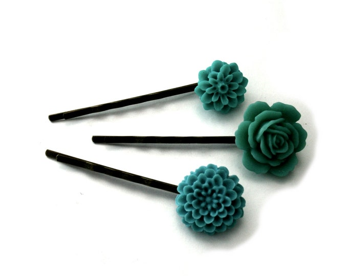 Teal Flower Bobby Pins, Teal Hair Grips, Girls Hair Accessory, Set of Three