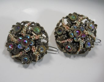 Jeweled Barrettes Up Cycled Vintage Jewelry One of a Kind Hair Pins Glass Pearls and Crystals