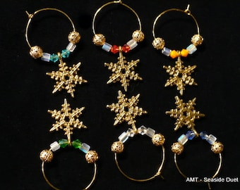 Gold Snowflake Wine Charms