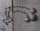 Antique Silver Filigree Flower Necklace, Vintage Jewelry, Italian, Women's Fashion, Accessories