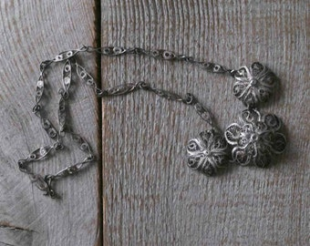 Antique Silver Filigree Flower Necklace, Vintage Jewelry, Italian, Women's Fashion, Accessories