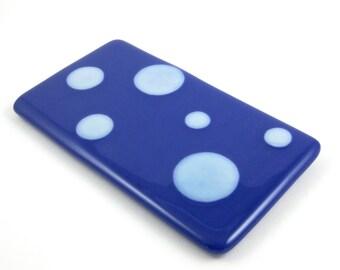 Glass Spoon Rest - Dark Blue and White Polka Dot
