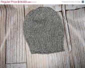HAT SALE hand knit baby hat -grey tweed - size 6 - 12 months