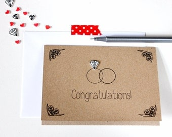 Handmade Wedding Card  //  Wedding Congratulations Card  //  Wedding Day Card  //  Wedding Rings Card