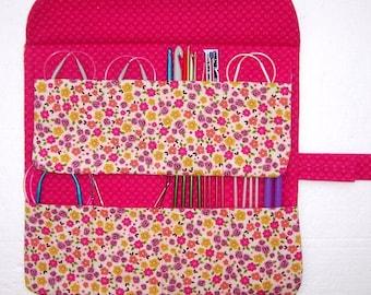 Orange Floral Circular Knitting Needle Case, Needle Roll Up, Yellow Hot Pink Crochet Hook Storage Organizer, Double Pointed Needle Holder