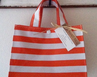 Beth's  Stripes Oilcloth Lunch Tote Bag