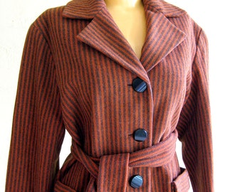 1950s 1960s Vintage Woman's Wool Jacket in Pumpkin Orange and Brown Striped Wool Sash Belt Patch Pockets