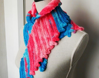 Skinny Neon Scarf Triangular Skinny Wrap with shades of Pink and Blue handmade from a variegated Yarn - Crochet