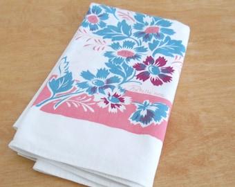 Mid Century Tablecloth • 1950's Vintage Fiatelle • Pink and Aqua