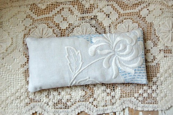 Lavender and Flax Seed Eye Pillow: Vintage Linen Yoga Pillow