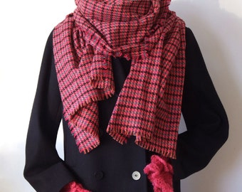 Oversized long scarf, raspberry houndstooth scarf, a splash of color winter scarf shawl, wool blend extra large warm scarf