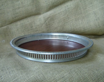 Vintage Pewter Gallery Tray Faux Wood Grain Mid Century Hollywood Glam Hollywood Regency