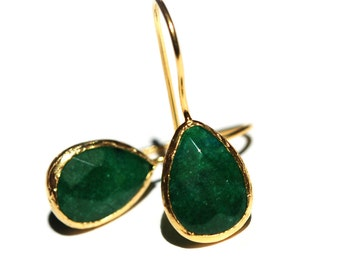 Emerald Green Drop Earrings in 925K sterling silver coated in 18K gold ,emerald green drops, dangling drops, small drops with french hooks