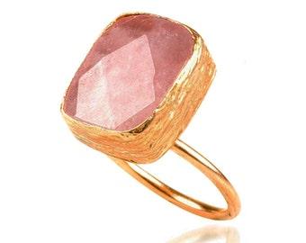 Rectangle Rose Quartz Gold Vermeil Ring