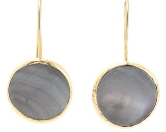 Grey Mother Of Pearl Earrings