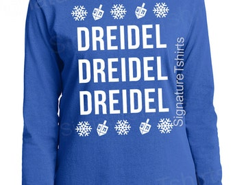Women's Ugly Hanukkah Sweater - Dreidel Shirt tshirt Hanukkah Gift Holiday party Winter typography t shirt