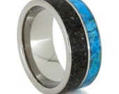 Pet Memorial Ring Inlaid with Pet Ashes Titanium Pinstripe and Turquoise on a Titanium Ring, Personalized Memorial Gift