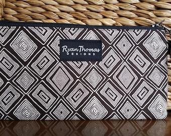Brown Cream Diamond Print Cotton Fabric Wristlet Zipper Pouch Clutch with orange flower linning