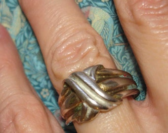 UNISEX silver plated vintage 14KT GE infinity cross wrap ring size 7.5