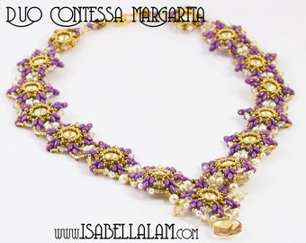 Duo CONTESSA Margarita Beadwork Necklace  Pdf tutorial instructions for personal use only