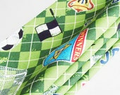 Soccer Napkins / Green - Black - White - Blue - Yellow - Red / Soccer Balls - Flags - Goals / Sporty Table Decor / Set of 4 / Gift Under 40