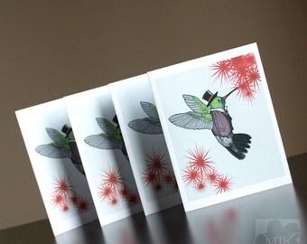 Dapper Hummingbird Blank Greeting Card - Size A2 For Bird Lovers