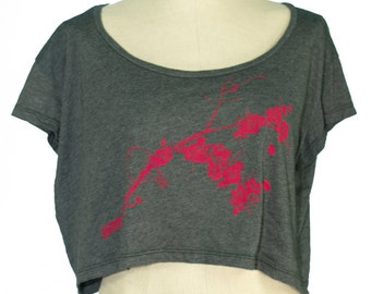 Bird, Ume, Plum Blossoms, Loose Crop Tee, Heather Black, Screen Printed, Eco-Friendly