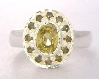 Golden Zircon Cognac Diamond Handmade Sterling Silver Ladies Halo Ring size 5.75