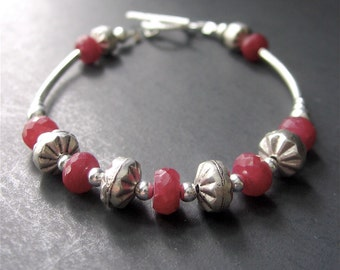 Ruby Bracelet, July Birthstone, Gemstone Beaded Bracelet, Layering Bracelet, Sterling Silver Bracelet