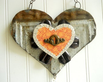Upcycled tin heart folk art  mixed media vintage metal wall hanging Primitive Valentine 10th anniversary wedding  decor N3