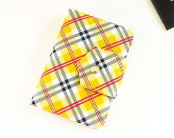 Passport Wallet , Travel Wallet, Passport Holder for Two OR Four Passports in Mustard Plaid - Choose Size and Lining Color -  Made To Order